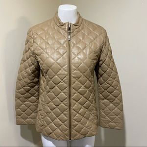 Moncler Beige Quilted Leather Bomber Jacket Sz S